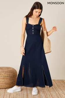 Monsoon Blue Contrast Stitch Linen Blend Dress