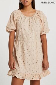 River Island Cream Broderie Puff Sleeve Mini Dress