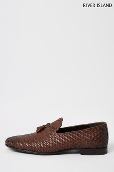 River Island Brown Embossed Slipper Loafers