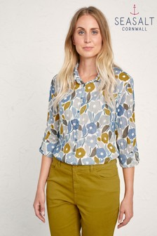 Seasalt Blue Chalked Blooms Wild Pansy Larissa Shirt