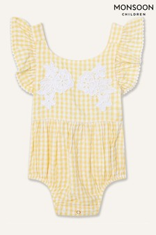 Monsoon Yellow Newborn Lace And Seersucker Romper