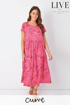 LIVE Curve Red Paisley Round Neck Midi Dress