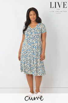 LIVE Curve Blue Ditsy Sustainable Viscose Jersey Swing Dress