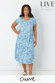 LIVE Curve Aqua Ditsy Sustainable Viscose Jersey Midi Dress