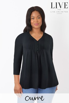 LIVE Curve Black Sustainable Viscose Jersey Swing Top