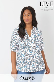 LIVE Curve Blue Ditsy Sustainable Viscose Jersey Blouse