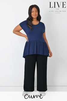 LIVE Curve Black Sustainable Viscose Wide Leg Trousers