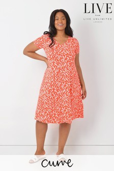 LIVE Curve Red Ditsy Sustainable Viscose Jersey Swing Dress