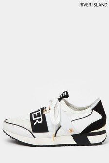River Island White 8064 Pull-On Runner Trainers