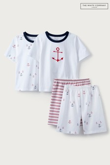 The White Company Anchor & Stripe Shortie Pyjamas 2 Pack
