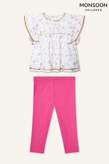 Monsoon Baby Daisy Foil Top And Leggings Set