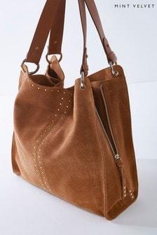 Mint Velvet Brown Hanna Tan Stud Shoulder Bag