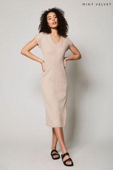 Mint Velvet Cream Ribbed V-Neck Maxi Dress