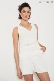 Mint Velvet White V-Neck Knitted Vest Top