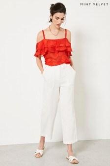 Mint Velvet Off-White Cotton Trousers