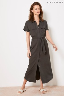 Mint Velvet Khaki Belted Midi Shirt Dress