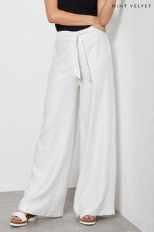 Mint Velvet White Belted Wide Leg Trousers