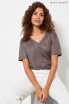 Mint Velvet Brown Shimmer V-Neck T-Shirt