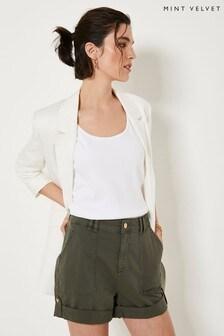 Mint Velvet Khaki Utility Chino Shorts