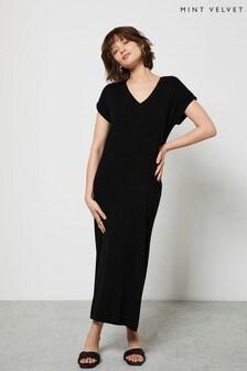 Mint Velvet Black Ribbed V-Neck Maxi Dress