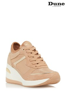 Dune London Brown Eilas Wedge Heel Lace-Up Trainers