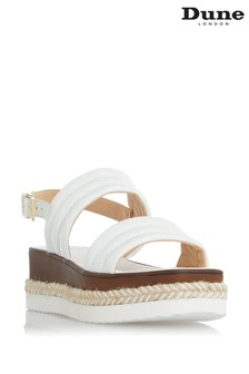 Dune London White Kazzy Padded Wedge Sandals