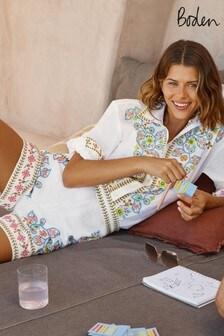 Boden Embroidered Linen Shirt