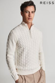 Reiss Dewi Cable Knit Half Zip Sweater