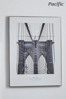 Pacific Mono New York Print With Silver Frame
