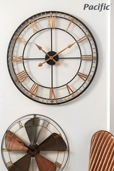 Pacific Gold Metal & Natural Wood Round Wall Clock