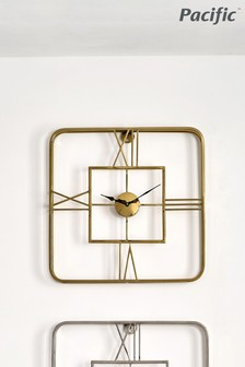Pacific Gold Metal Square Wall Clock