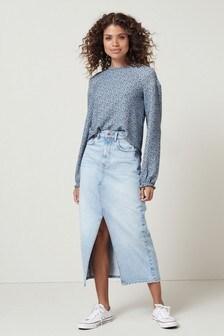 Front Split Denim Midi Skirt