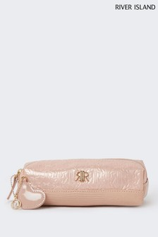 River Island Pink Embossed Pencil Case