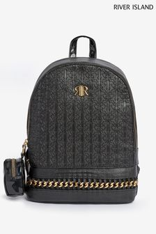 River Island Black Monogram Chain Bag