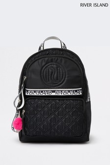River Island Black Nylon Quilted Backpack