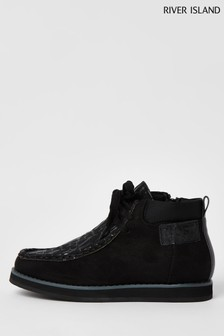 River Island Black Lace-Up Wallabe Boots