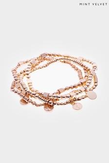 Mint Velvet Gold Tone Bead Bracelet Set