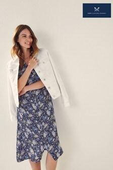 Crew Clothing Company Blue Laura Woven Tea Dress