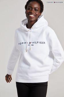 Tommy Hilfiger White Heritage Logo Hoodie