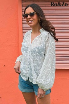 Ro&Zo White Leaf Broderie Top