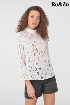 Ro&Zo White Broderie Lace High Neck Top