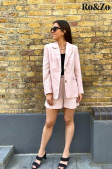 Ro&Zo Pink Tailored Linen Blend Blazer