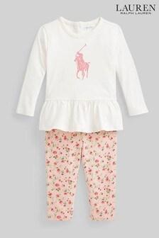 Ralph Lauren Pink T-Shirt And Leggings Outfit Set