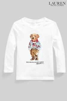 Ralph Lauren White Bear Long Sleeve T-Shirt