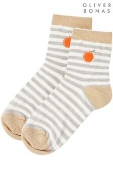 Oliver Bonas Fruity Orange Striped Socks