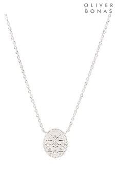 Oliver Bonas Delos Stone Inlay Oval Drop Silver Pendant Necklace