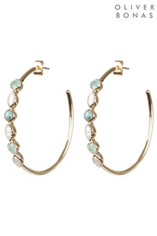 Oliver Bonas Ayan Mixed Stones Gold Plated Hoop Earrings