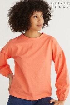 Oliver Bonas Gathered Cuff Orange Jersey Top