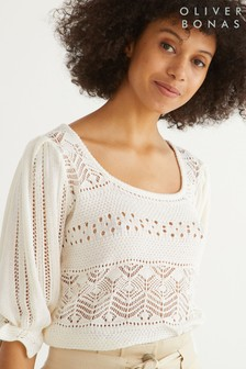 Oliver Bonas Pointelle Stitch White Knitted Top