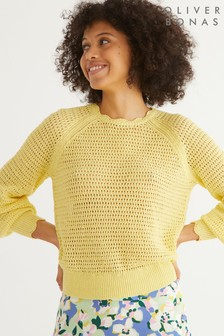 Oliver Bonas Sparkle Stitch Yellow Knitted Top